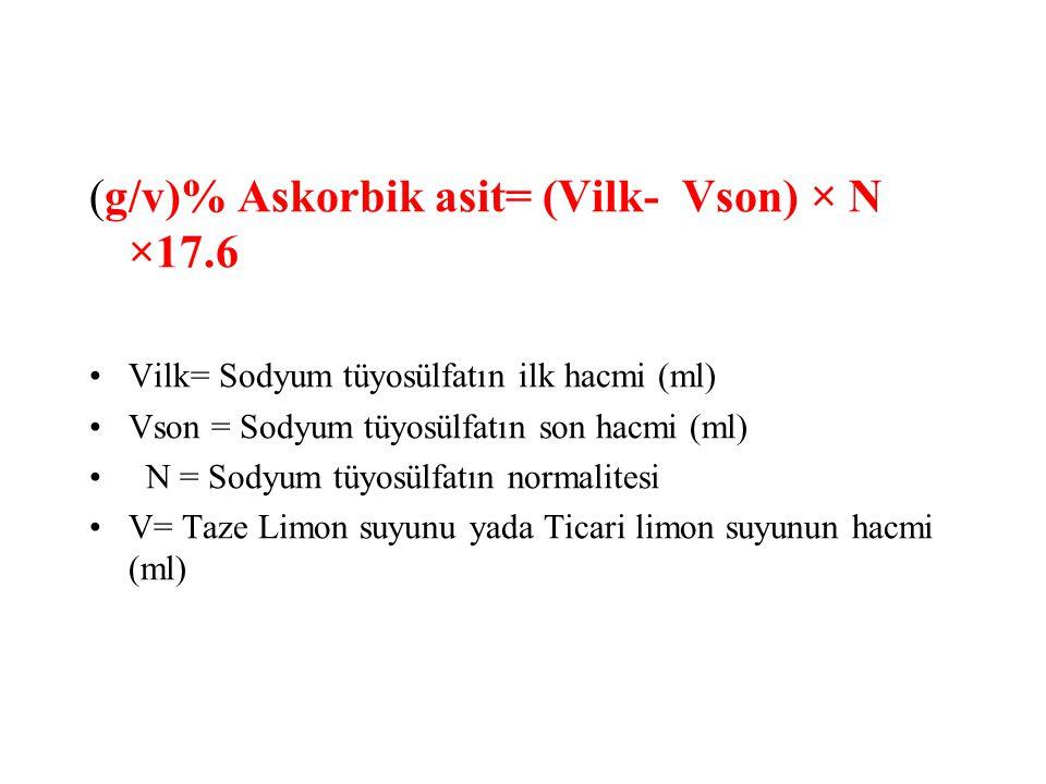 (g/v)% Askorbik asit= (Vilk- Vson) × N ×17.6 Vilk= Sodyum tüyosülfatın ilk hacmi (ml) Vson = Sodyum tüyosülfatın son hacmi (ml) N = Sodyum tüyosülfatı