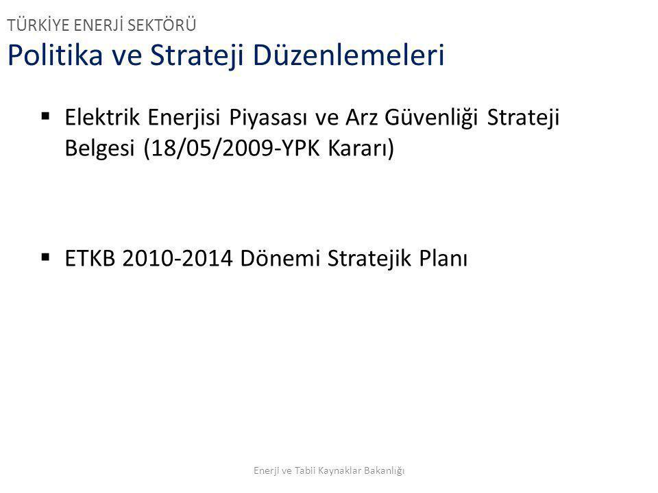 Politika ve Strateji Düzenlemeleri  Elektrik Enerjisi Piyasası ve Arz Güvenliği Strateji Belgesi (18/05/2009-YPK Kararı)  ETKB 2010-2014 Dönemi Stra