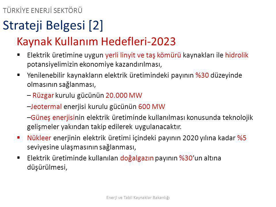 Strateji Belgesi [2] Kaynak Kullanım Hedefleri-2023  Elektrik üretimine uygun yerli linyit ve taş kömürü kaynakları ile hidrolik potansiyelimizin eko