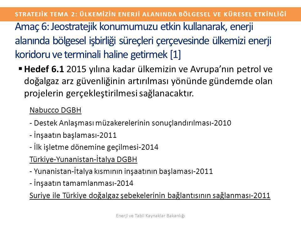  Hedef 6.1 2015 yılına kadar ülkemizin ve Avrupa'nın petrol ve doğalgaz arz güvenliğinin artırılması yönünde gündemde olan projelerin gerçekleştirilm