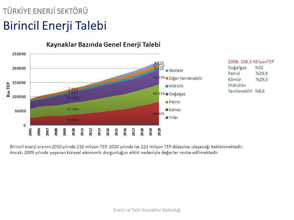Birincil Enerji Talebi 2008: 106,3 MilyonTEP Doğalgaz %32 Petrol %29,9 Kömür %29,5 Hidrolik+ Yenilenebilir %8,6 Birincil enerji arzının 2010 yılında 2