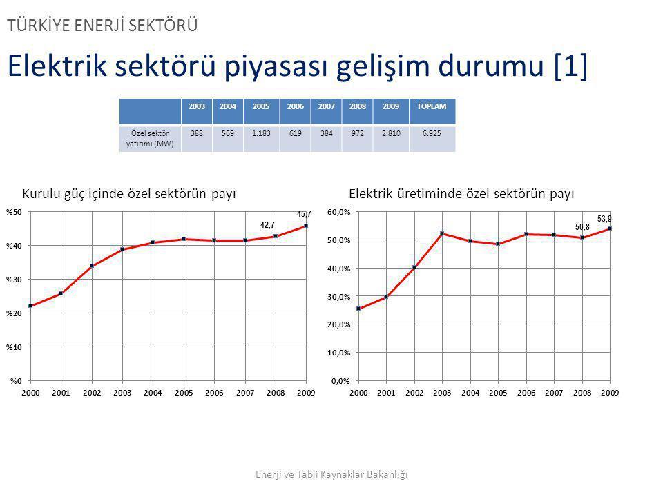 Elektrik sektörü piyasası gelişim durumu [1] TÜRKİYE ENERJİ SEKTÖRÜ 2003200420052006200720082009TOPLAM Özel sektör yatırımı (MW) 3885691.1836193849722