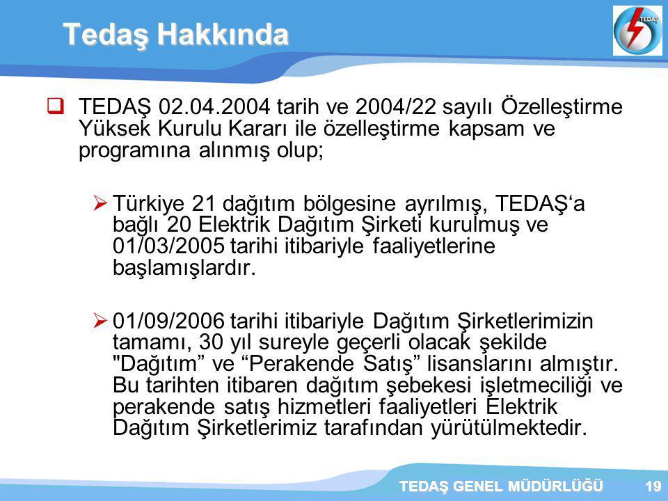 TEDAŞ GENEL MÜDÜRLÜĞÜ19  TEDAŞ 02.04.2004 tarih ve 2004/22 sayılı Özelleştirme Yüksek Kurulu Kararı ile özelleştirme kapsam ve programına alınmış olup;  Türkiye 21 dağıtım bölgesine ayrılmış, TEDAŞ'a bağlı 20 Elektrik Dağıtım Şirketi kurulmuş ve 01/03/2005 tarihi itibariyle faaliyetlerine başlamışlardır.