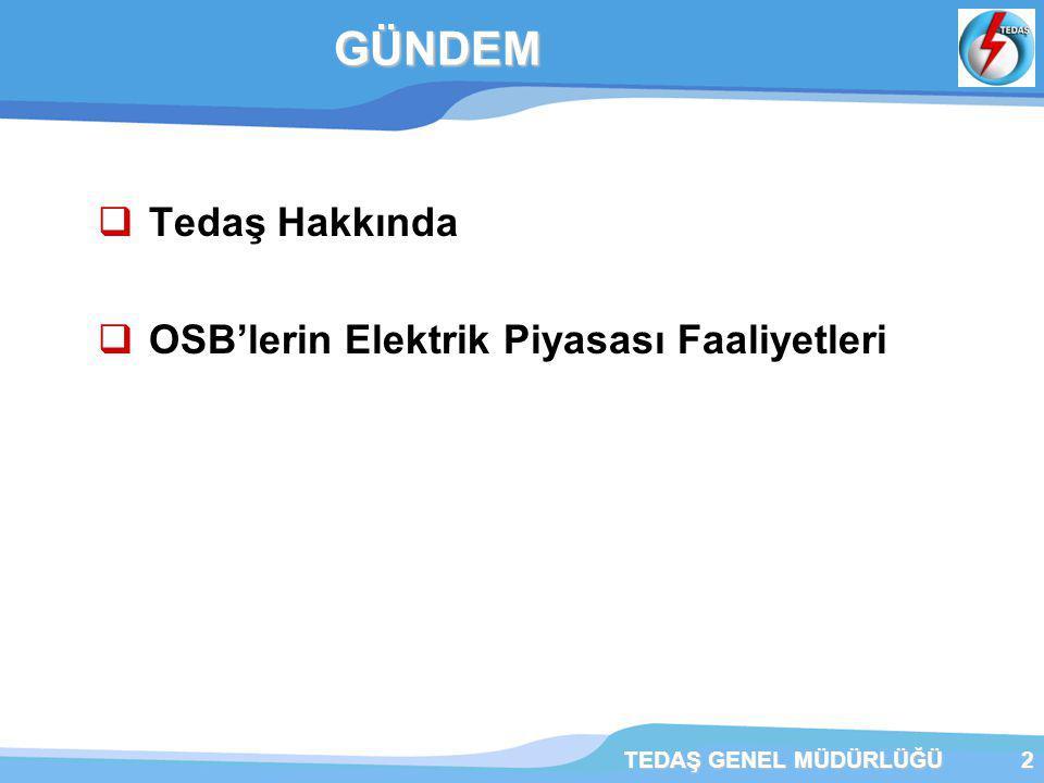 TEDAŞ GENEL MÜDÜRLÜĞÜ3  233 sayılı KHK'ye istinaden,TEK'nun TEDAŞ ve TEİAŞ olarak yeniden yapılandırılması ile 1993 yılında kurulmuştur.