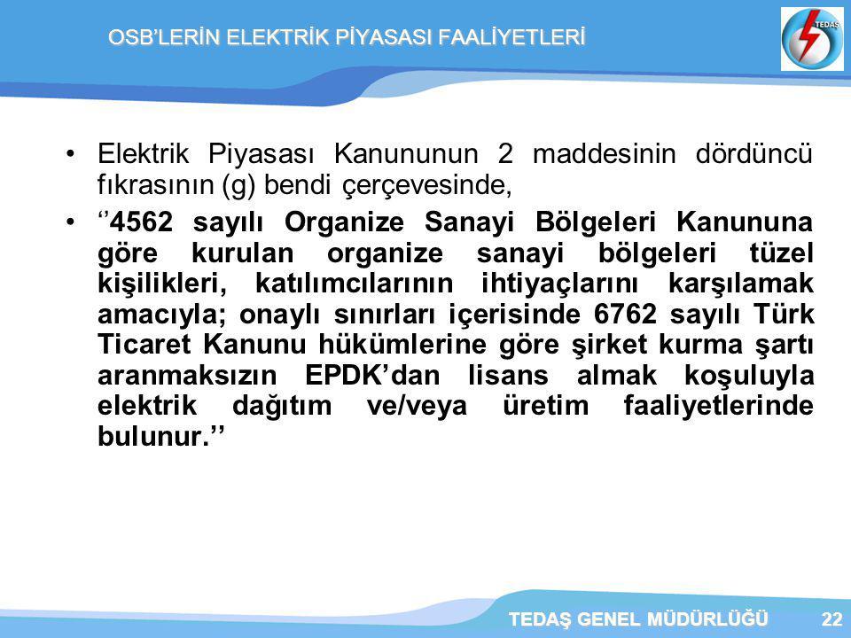 TEDAŞ GENEL MÜDÜRLÜĞÜ22 OSB'LERİN ELEKTRİK PİYASASI FAALİYETLERİ Elektrik Piyasası Kanununun 2 maddesinin dördüncü fıkrasının (g) bendi çerçevesinde, ''4562 sayılı Organize Sanayi Bölgeleri Kanununa göre kurulan organize sanayi bölgeleri tüzel kişilikleri, katılımcılarının ihtiyaçlarını karşılamak amacıyla; onaylı sınırları içerisinde 6762 sayılı Türk Ticaret Kanunu hükümlerine göre şirket kurma şartı aranmaksızın EPDK'dan lisans almak koşuluyla elektrik dağıtım ve/veya üretim faaliyetlerinde bulunur.''