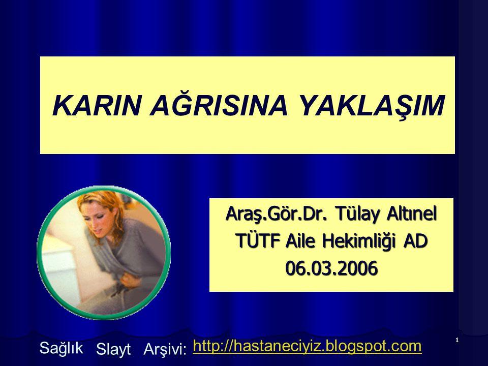 1 KARIN AĞRISINA YAKLAŞIM Araş.Gör.Dr. Tülay Altınel TÜTF Aile Hekimliği AD 06.03.2006 Sağlık Slayt Arşivi: http://hastaneciyiz.blogspot.com
