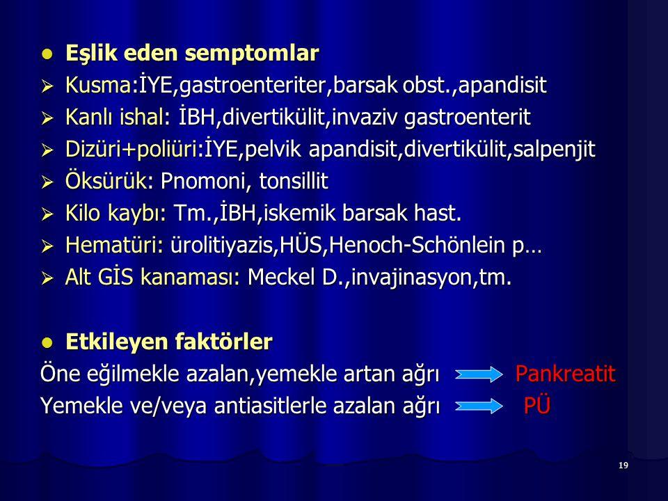 19 Eşlik eden semptomlar Eşlik eden semptomlar  Kusma:İYE,gastroenteriter,barsak obst.,apandisit  Kanlı ishal: İBH,divertikülit,invaziv gastroenteri