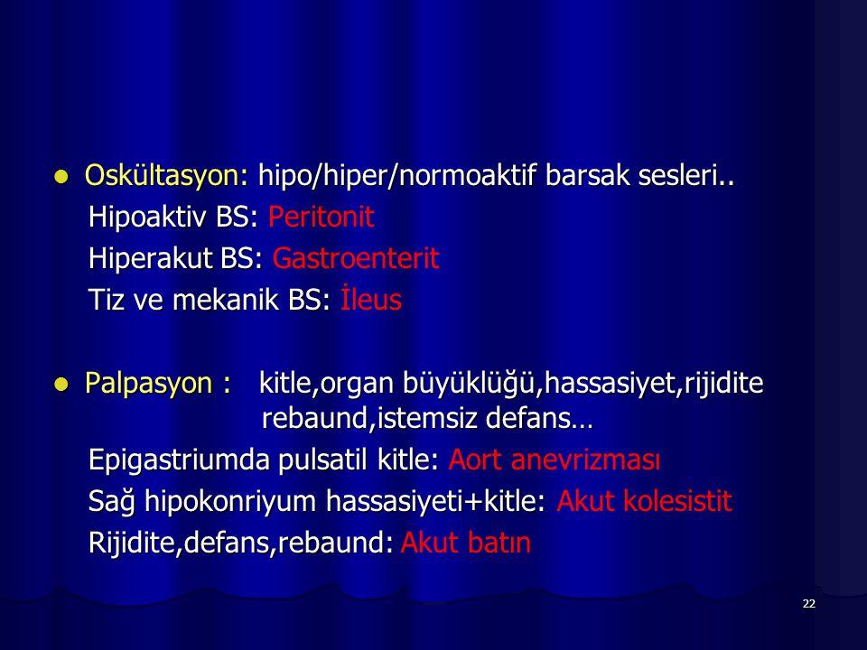 22 Oskültasyon: hipo/hiper/normoaktif barsak sesleri.. Oskültasyon: hipo/hiper/normoaktif barsak sesleri.. Hipoaktiv BS: Hipoaktiv BS: Peritonit Hiper