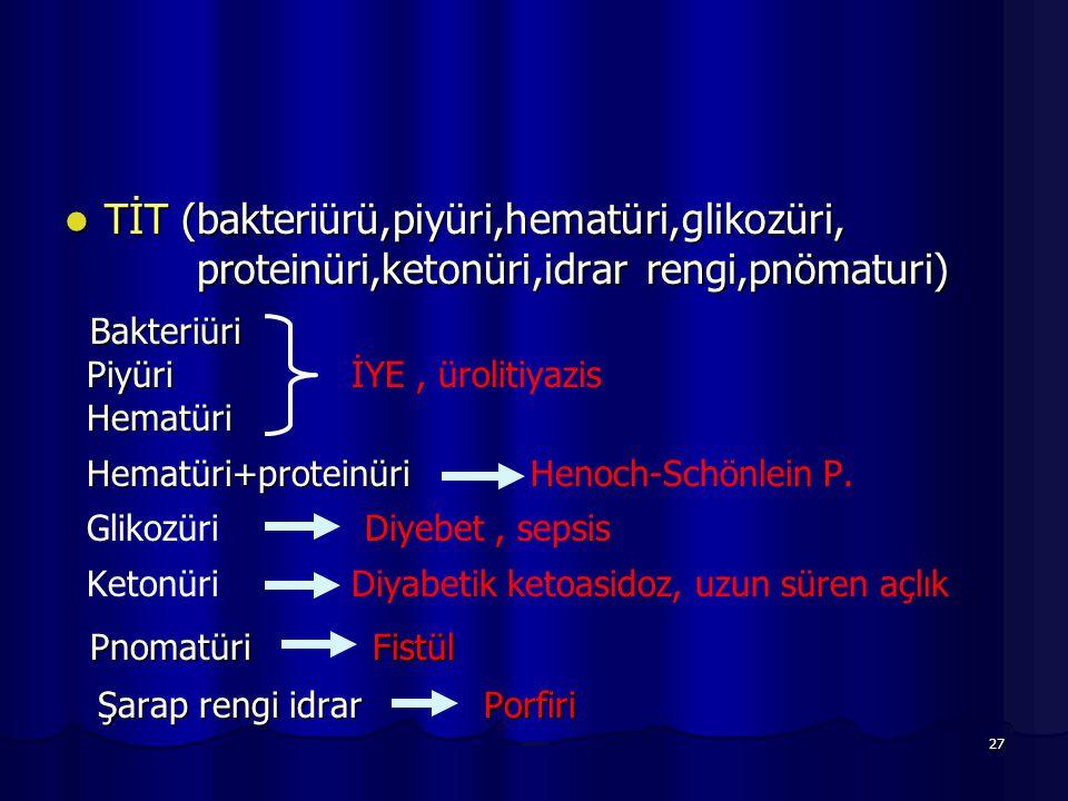 27 TİT (bakteriürü,piyüri,hematüri,glikozüri, proteinüri,ketonüri,idrar rengi,pnömaturi) TİT (bakteriürü,piyüri,hematüri,glikozüri, proteinüri,ketonür