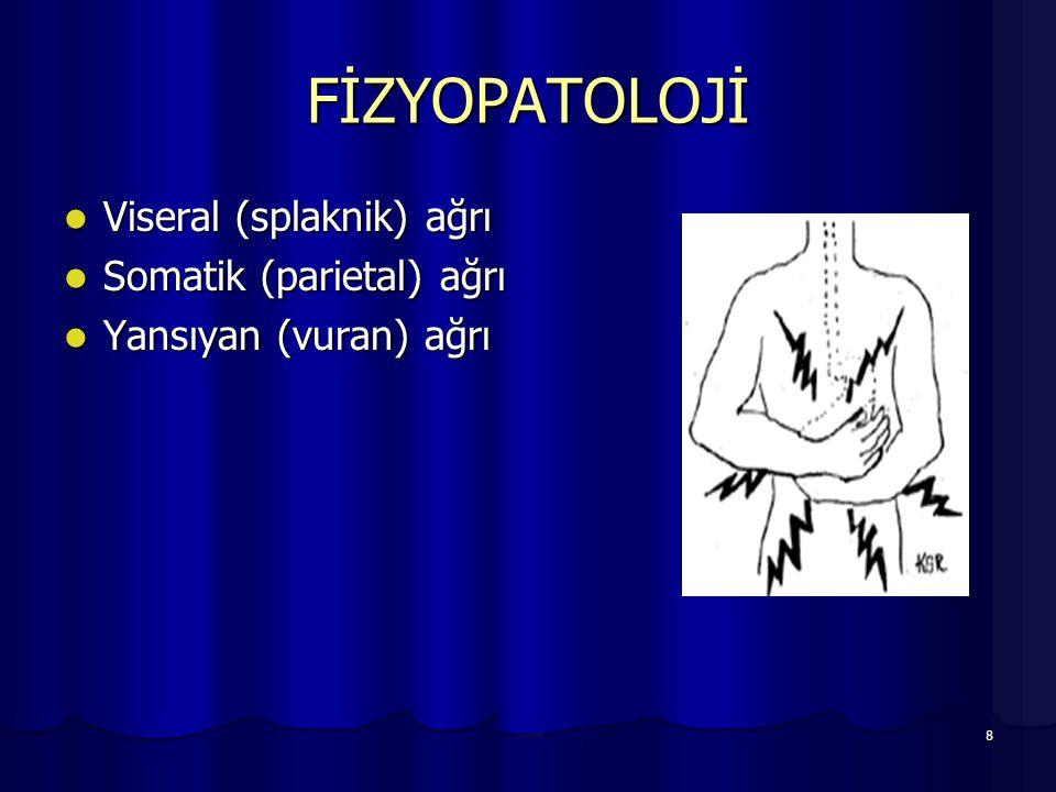 8 FİZYOPATOLOJİ Viseral (splaknik) ağrı Viseral (splaknik) ağrı Somatik (parietal) ağrı Somatik (parietal) ağrı Yansıyan (vuran) ağrı Yansıyan (vuran)