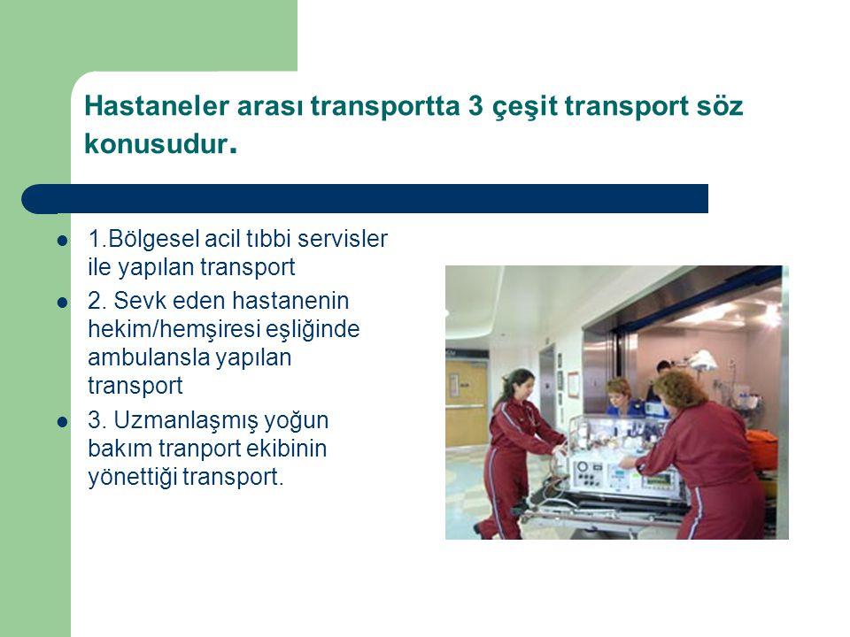 Hastaneler arası transportta 3 çeşit transport söz konusudur. 1.Bölgesel acil tıbbi servisler ile yapılan transport 2. Sevk eden hastanenin hekim/hemş
