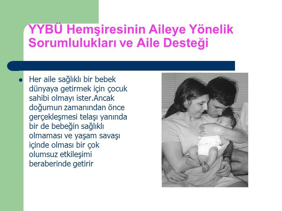 YYBÜ Hemşiresinin Aileye Yönelik Sorumlulukları ve Aile Desteği Her aile sağlıklı bir bebek dünyaya getirmek için çocuk sahibi olmayı ister.Ancak doğu