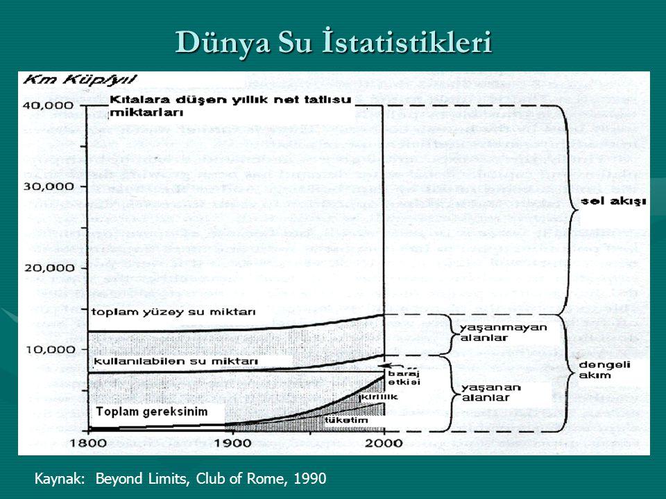Dünya Su İstatistikleri Kaynak: Beyond Limits, Club of Rome, 1990