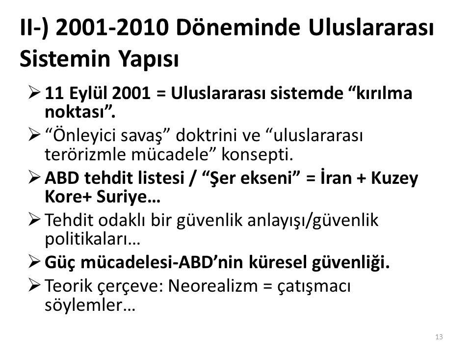 """II-) 2001-2010 Döneminde Uluslararası Sistemin Yapısı  11 Eylül 2001 = Uluslararası sistemde """"kırılma noktası"""".  """"Önleyici savaş"""" doktrini ve """"ulusl"""