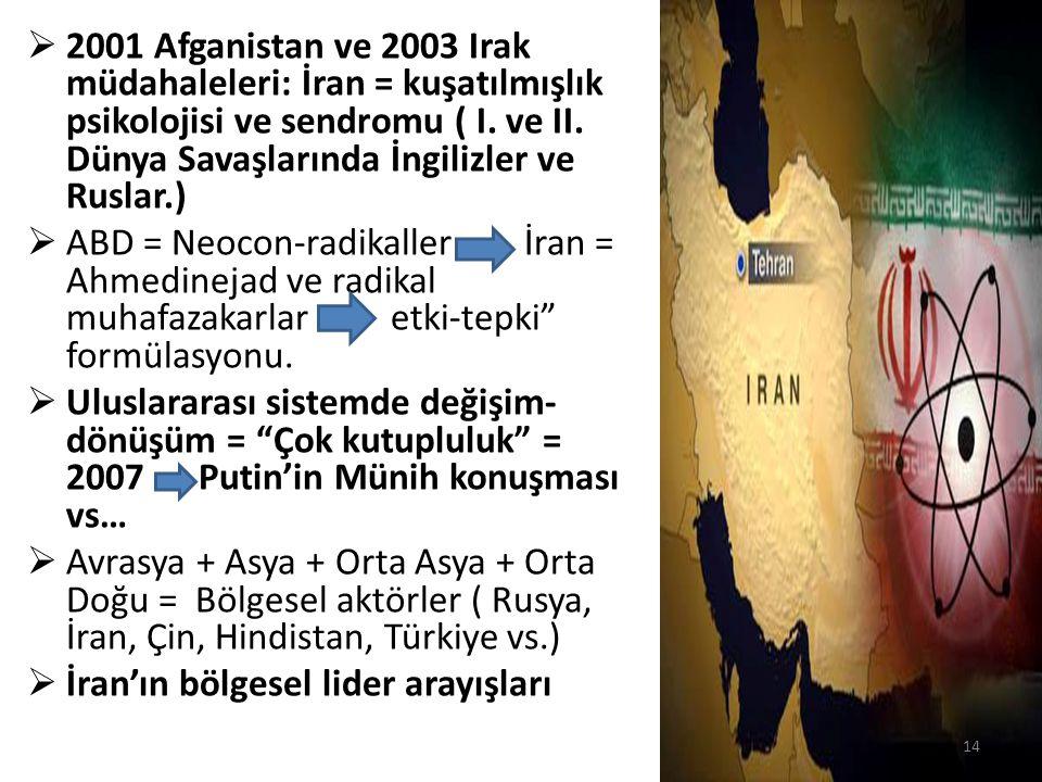  2001 Afganistan ve 2003 Irak müdahaleleri: İran = kuşatılmışlık psikolojisi ve sendromu ( I. ve II. Dünya Savaşlarında İngilizler ve Ruslar.)  ABD
