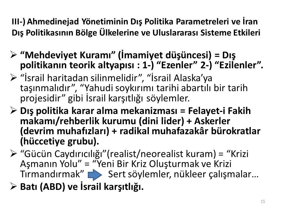 """III-) Ahmedinejad Yönetiminin Dış Politika Parametreleri ve İran Dış Politikasının Bölge Ülkelerine ve Uluslararası Sisteme Etkileri  """"Mehdeviyet Kur"""