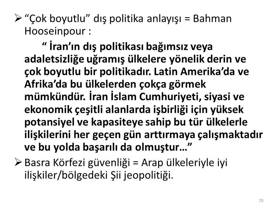 """ """"Çok boyutlu"""" dış politika anlayışı = Bahman Hooseinpour : """" İran'ın dış politikası bağımsız veya adaletsizliğe uğramış ülkelere yönelik derin ve ço"""