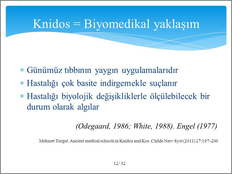 Günümüz tıbbının yaygın uygulamalarıdır  Hastalığı çok basite indirgemekle suçlanır  Hastalığı biyolojik değişikliklerle ölçülebilecek bir durum olarak algılar / 3212 Knidos = Biyomedikal yaklaşım (Odegaard, 1986; White, 1988).