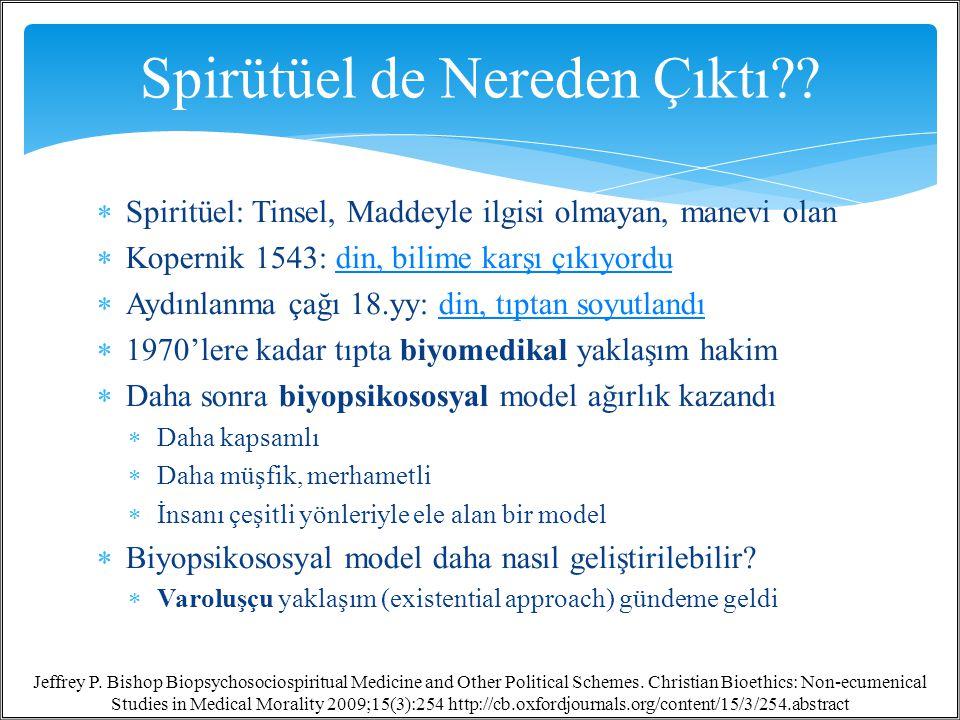  Spiritüel: Tinsel, Maddeyle ilgisi olmayan, manevi olan  Kopernik 1543: din, bilime karşı çıkıyordudin, bilime karşı çıkıyordu  Aydınlanma çağı 18.yy: din, tıptan soyutlandıdin, tıptan soyutlandı  1970'lere kadar tıpta biyomedikal yaklaşım hakim  Daha sonra biyopsikososyal model ağırlık kazandı  Daha kapsamlı  Daha müşfik, merhametli  İnsanı çeşitli yönleriyle ele alan bir model  Biyopsikososyal model daha nasıl geliştirilebilir.