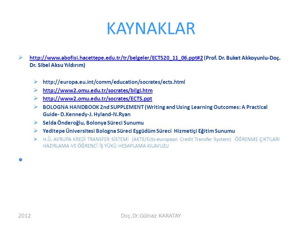 KAYNAKLAR Prof. Dr. Buket Akkoyunlu-Doç. Dr. Sibel Aksu Yıldırım)  http://www.abofisi.hacettepe.edu.tr/tr/belgeler/ECTS20_11_06.ppt#2 (Prof. Dr. Buke