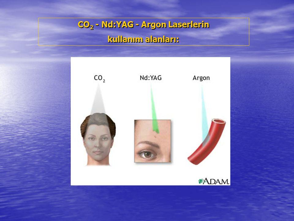 CO 2 - Nd:YAG - Argon Laserlerin kullanım alanları: