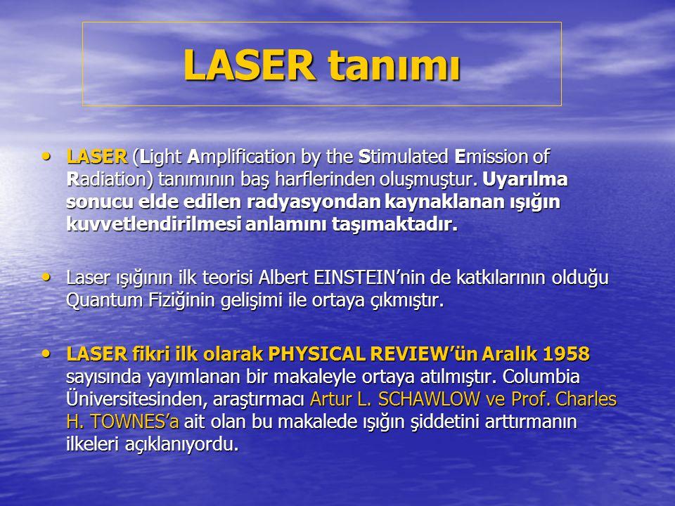 LASER IŞIĞININ ÖZELLİKLERİ a) LASER ışıkları monokromatiktir, yani tek renkli ve tek dalga boyludur.
