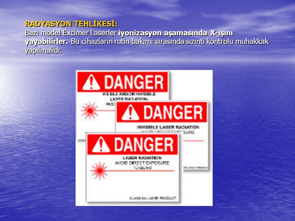 RADYASYON TEHLİKESİ: Bazı model Excimer Laserler iyonizasyon aşamasında X-ışını yayabilirler. Bu cihazların rutin bakımı sırasında sızıntı kontrolu mu