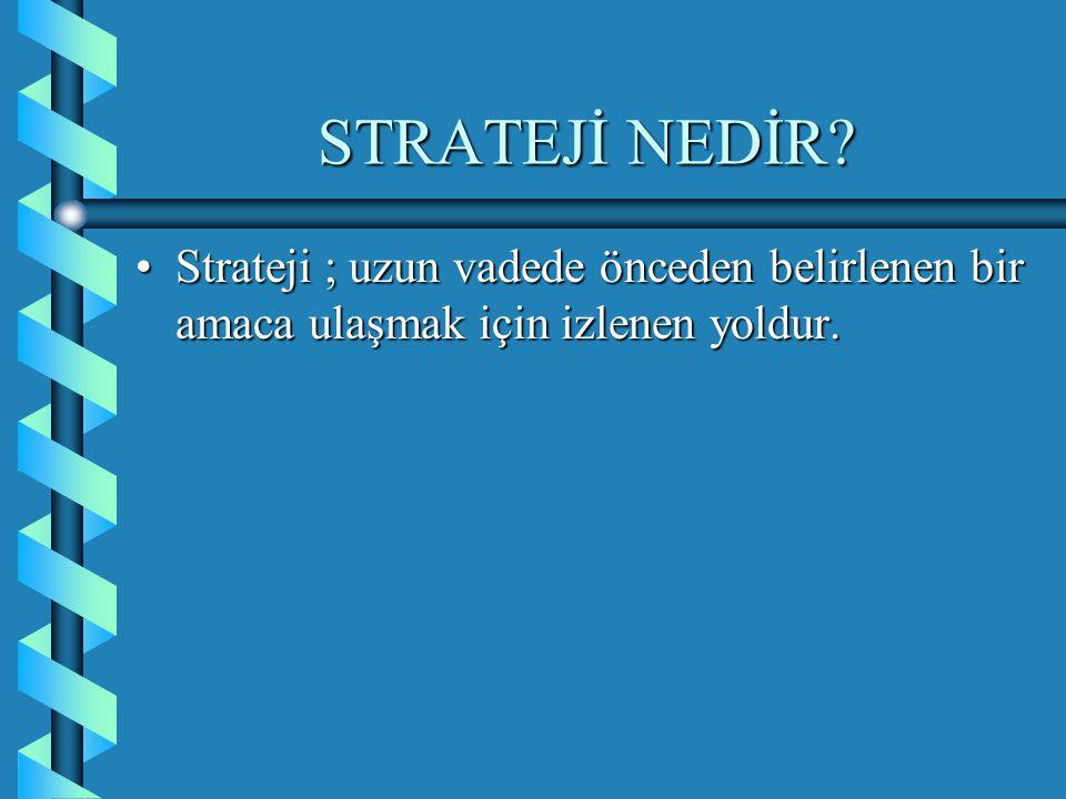 STRATEJİ NEDİR? Strateji ; uzun vadede önceden belirlenen bir amaca ulaşmak için izlenen yoldur.Strateji ; uzun vadede önceden belirlenen bir amaca ul