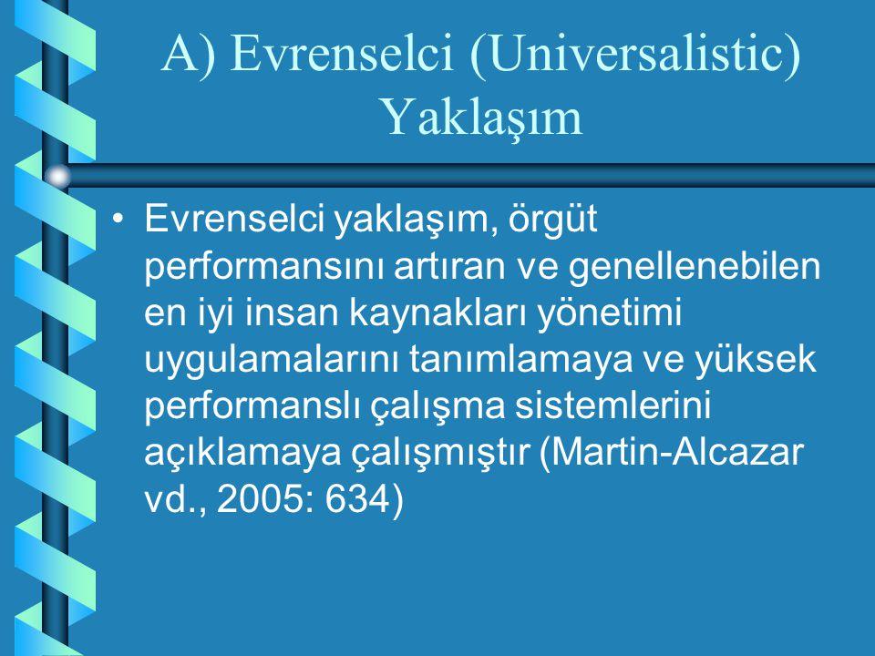 A) Evrenselci (Universalistic) Yaklaşım Evrenselci yaklaşım, örgüt performansını artıran ve genellenebilen en iyi insan kaynakları yönetimi uygulamala