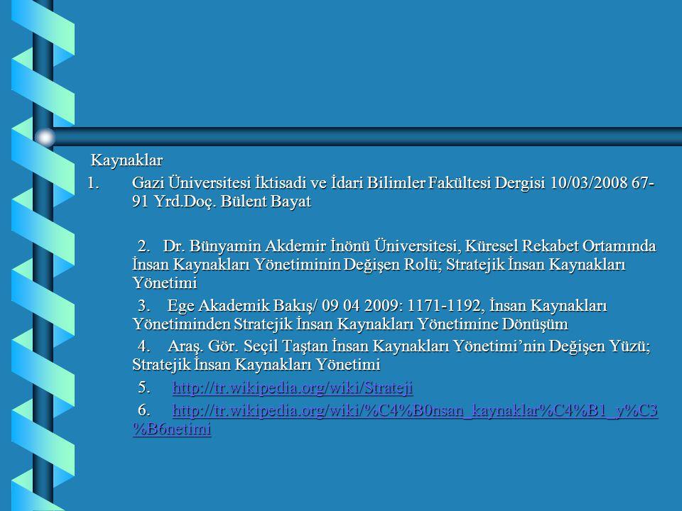 Kaynaklar Kaynaklar 1.Gazi Üniversitesi İktisadi ve İdari Bilimler Fakültesi Dergisi 10/03/2008 67- 91 Yrd.Doç. Bülent Bayat 2. Dr. Bünyamin Akdemir İ