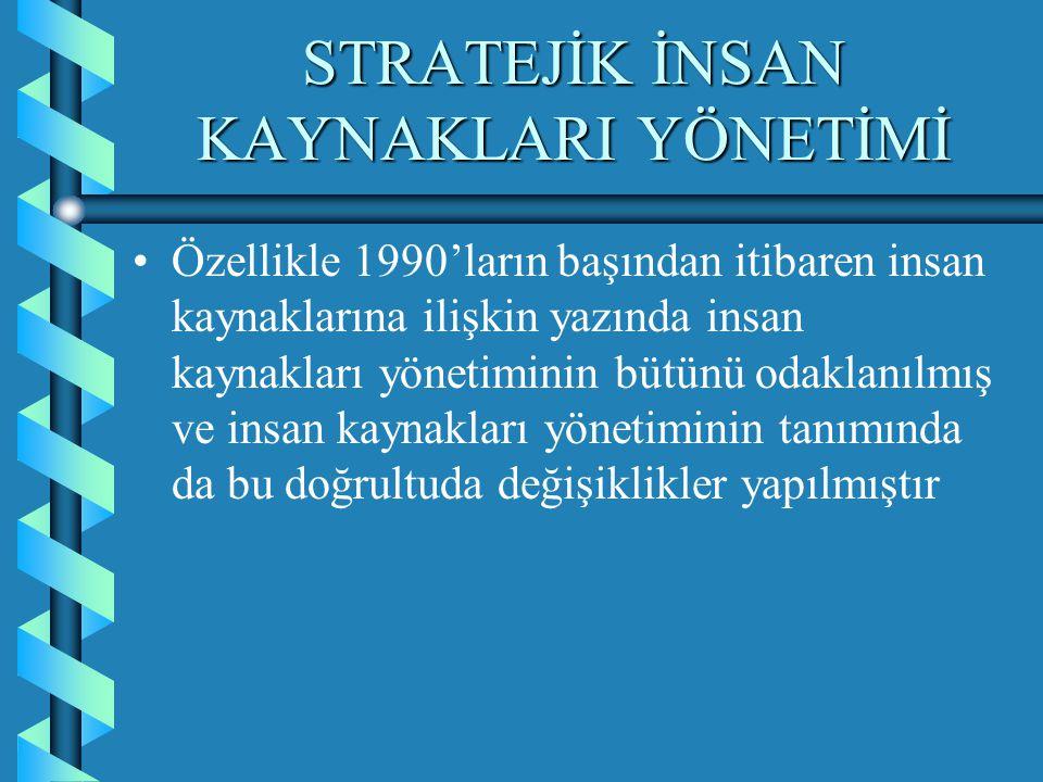 STRATEJİK İNSAN KAYNAKLARI YÖNETİMİ Stratejik insan kaynakları yönetimi kısaca stratejik yönetimle bütünleşmedirStratejik insan kaynakları yönetimi kısaca stratejik yönetimle bütünleşmedir Bratton ve Goldy, bu tarz bir stratejik bütünleşmeyi; insan kaynakları stratejisi ve işletmenin dış ve iç çevre elemanları arasındaki uygunluk (Bratton,Goldy; 1999;46-47) olarak tanımlamaktadırlar.Bratton ve Goldy, bu tarz bir stratejik bütünleşmeyi; insan kaynakları stratejisi ve işletmenin dış ve iç çevre elemanları arasındaki uygunluk (Bratton,Goldy; 1999;46-47) olarak tanımlamaktadırlar.