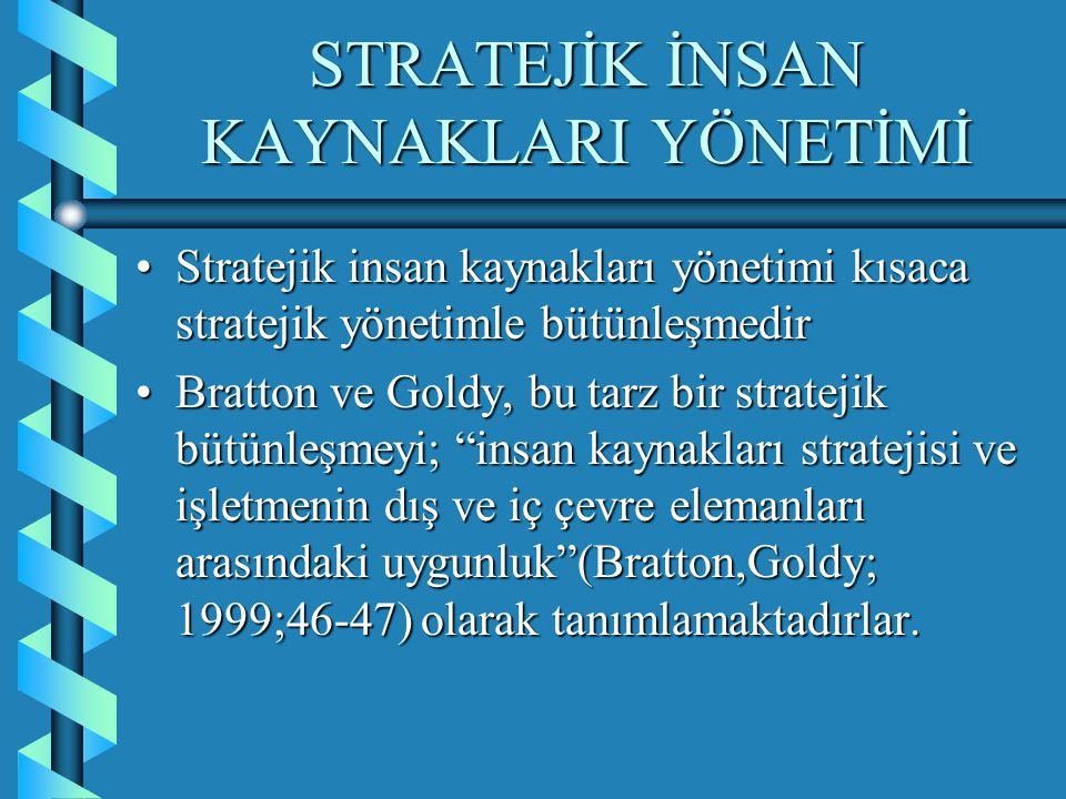 STRATEJİK İNSAN KAYNAKLARI YÖNETİMİ Stratejik insan kaynakları yönetimini; işletme stratejilerinin daha etkili bir şekilde gerçekleşmesini sağlayan bir yönetim süreci olarak, insan kaynakları süreçlerinin işletmenin belirlediği stratejiye uygun olarak yönetilmesi (Tyson;1995;5)Stratejik insan kaynakları yönetimini; işletme stratejilerinin daha etkili bir şekilde gerçekleşmesini sağlayan bir yönetim süreci olarak, insan kaynakları süreçlerinin işletmenin belirlediği stratejiye uygun olarak yönetilmesi (Tyson;1995;5)