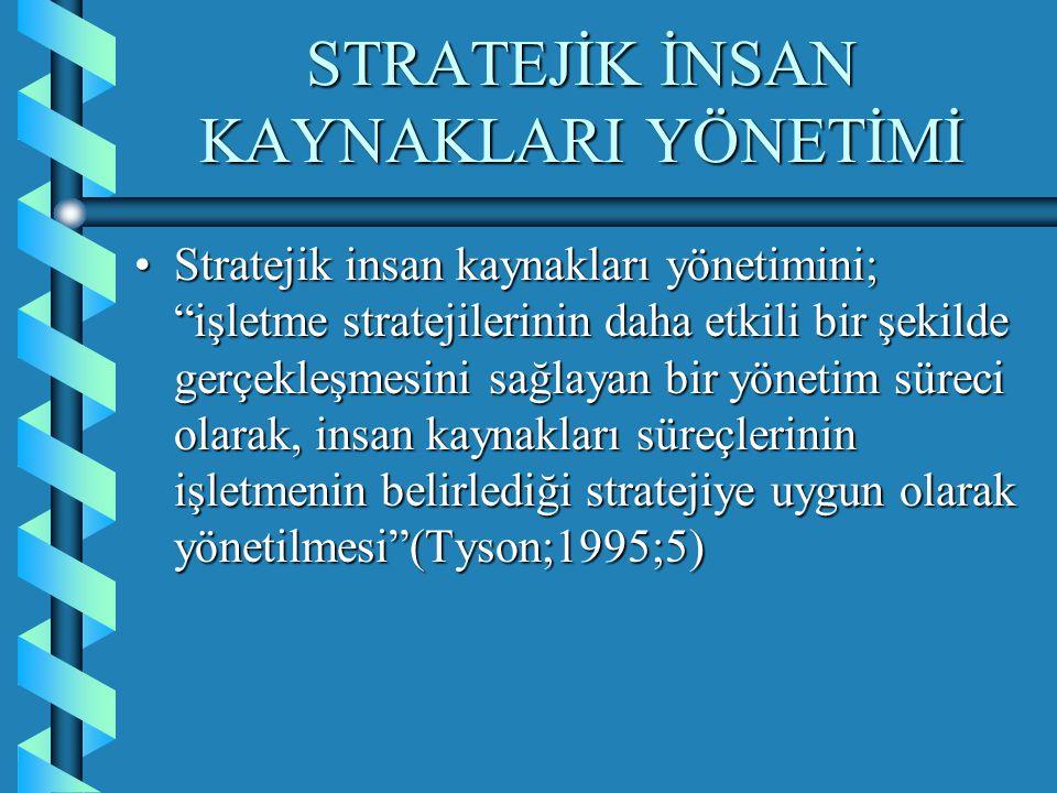 """STRATEJİK İNSAN KAYNAKLARI YÖNETİMİ Stratejik insan kaynakları yönetimini; """"işletme stratejilerinin daha etkili bir şekilde gerçekleşmesini sağlayan b"""