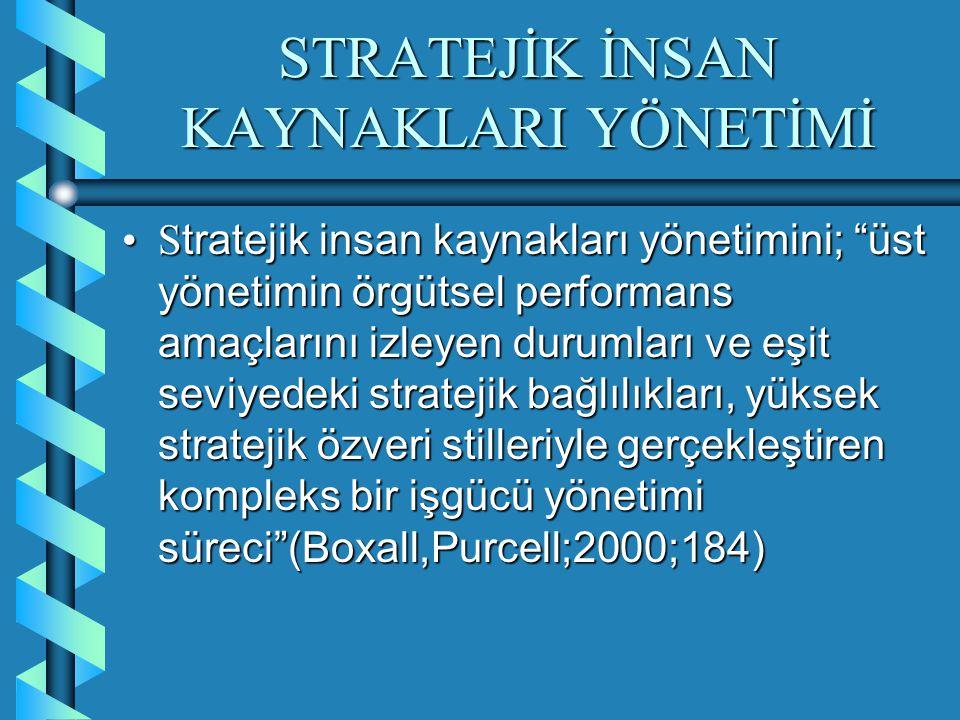 STRATEJİK İNSAN KAYNAKLARI YÖNETİMİ İ şletmenin başarısı için gerekli olan stratejik faaliyetlerin en üst düzeyden en alt birimdeki işgörene kadar yerine getirilmesini sağlayan bir yönetim fonksiyonu (Schuler;1992;21)İ şletmenin başarısı için gerekli olan stratejik faaliyetlerin en üst düzeyden en alt birimdeki işgörene kadar yerine getirilmesini sağlayan bir yönetim fonksiyonu (Schuler;1992;21)