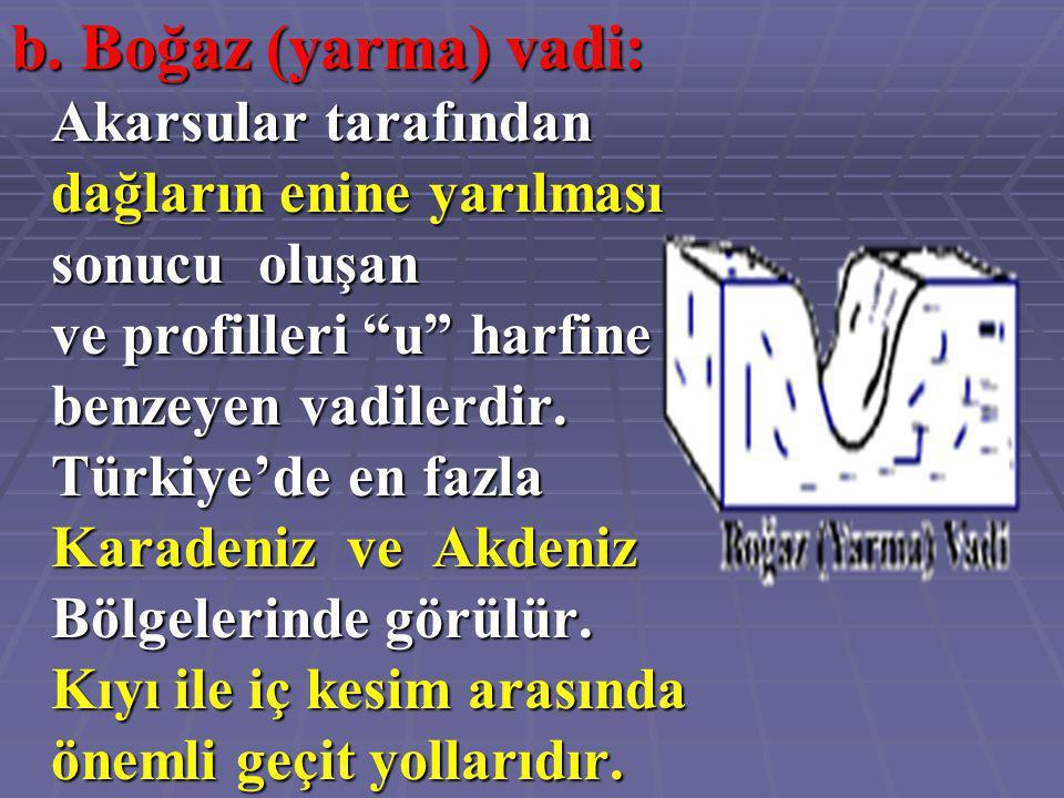 """b. Boğaz (yarma) vadi: Akarsular tarafından dağların enine yarılması sonucu oluşan ve profilleri """"u"""" harfine benzeyen vadilerdir. Türkiye'de en fazla"""