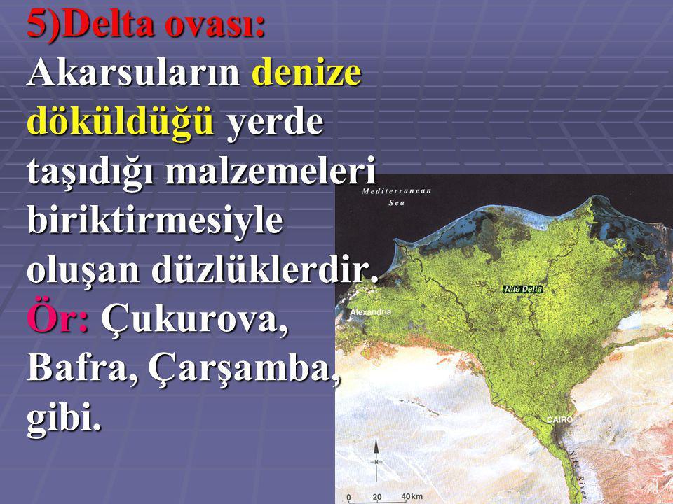 5)Delta ovası: Akarsuların denize döküldüğü yerde taşıdığı malzemeleri biriktirmesiyle oluşan düzlüklerdir. Ör: Çukurova, Bafra, Çarşamba, gibi.