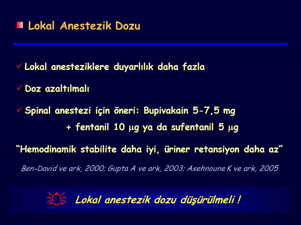 Lokal Anestezik Dozu Lokal anesteziklere duyarlılık daha fazla Doz azaltılmalı Spinal anestezi için öneri: Bupivakain 5-7,5 mg + fentanil 10  g ya da sufentanil 5  g Hemodinamik stabilite daha iyi, üriner retansiyon daha az  Lokal anestezik dozu düşürülmeli .