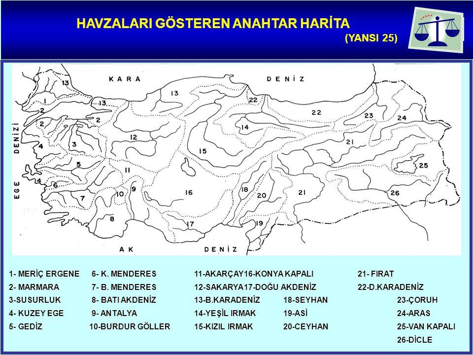 HAVZALARI GÖSTEREN ANAHTAR HARİTA (YANSI 25) 1- MERİÇ ERGENE 6- K.