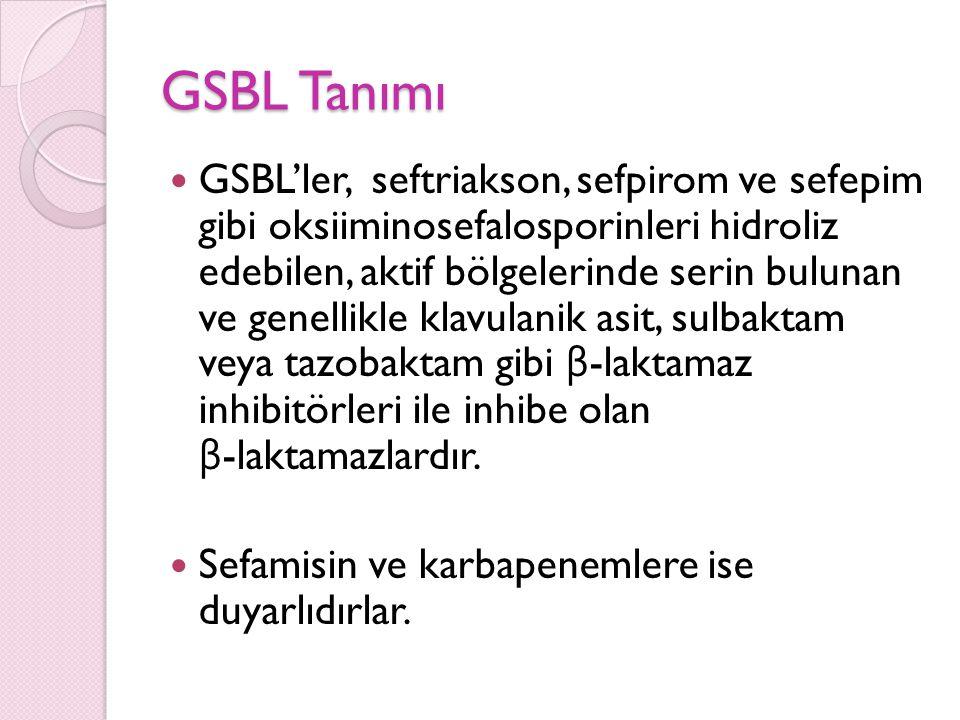 GSBL üreten mikroorganizma ile kolonize olan hastaların belirlenmesi, G İ S örnekleri özellikle de rektal sürüntü kültürleri ile yapılabilir.