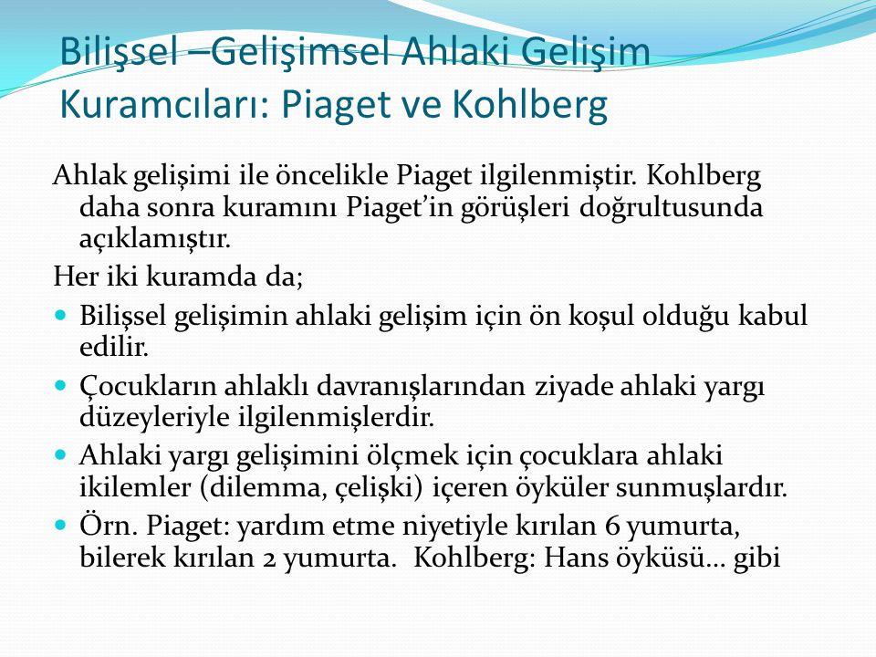 Piaget'nin Ahlaki Gelişimi kuramı Ahlak Öncesi Dönem: (0 – 4/5 yaş): Çocuk benmerkezci eğilimden dolayı başkasının bakış açısını anlayamaz, oyunda ve sosyal yaşamda kuralların varlığından haberdar değildir.