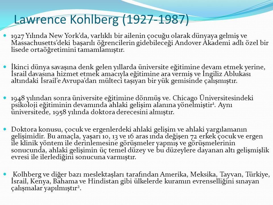 Kohlberg'e Göre Ahlak Gelişimi Kohlberg (1969) Piaget'in kuramını geliştirmiştir.