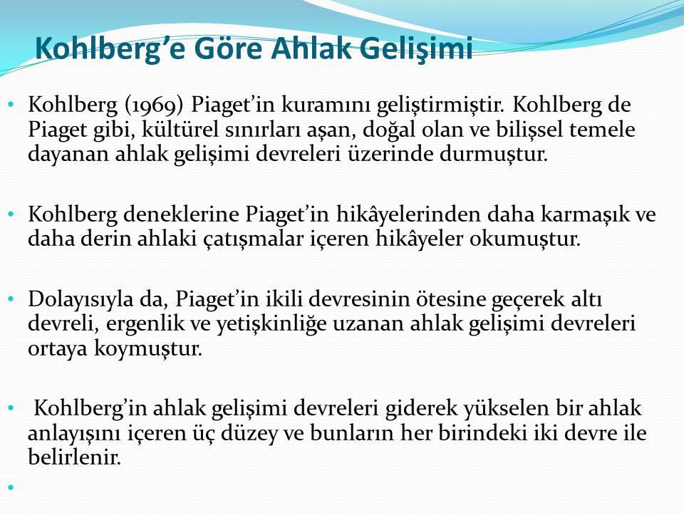 Kohlberg'in Ahlaki Gelişim Evreleri I.DÜZEY; Gelenek Öncesi Düzey; (Egosantrik Düzey) Bu düzeyde kişi iyi-kötü, doğru-yanlış gibi kültürel kural ve değerlere açıktır.