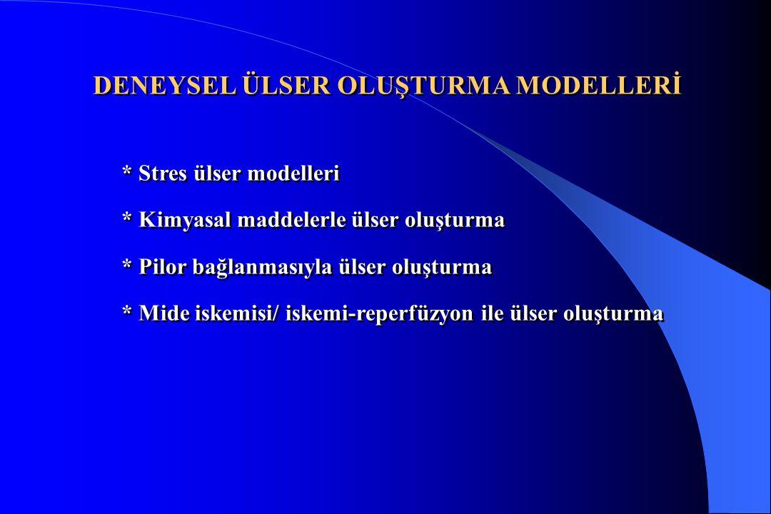 DENEYSEL ÜLSER OLUŞTURMA MODELLERİ * Stres ülser modelleri * Kimyasal maddelerle ülser oluşturma * Pilor bağlanmasıyla ülser oluşturma * Mide iskemisi