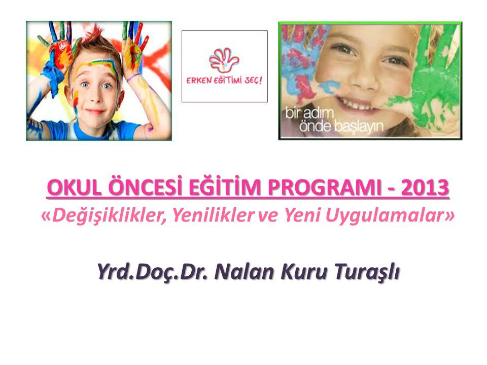 OKUL ÖNCESİ EĞİTİM PROGRAMI - 2013 Yrd.Doç.Dr. Nalan Kuru Turaşlı OKUL ÖNCESİ EĞİTİM PROGRAMI - 2013 «Değişiklikler, Yenilikler ve Yeni Uygulamalar» Y