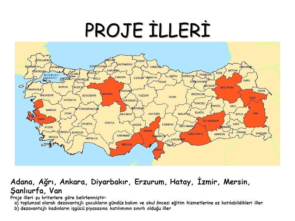 PROJE İLLERİ Adana, Ağrı, Ankara, Diyarbakır, Erzurum, Hatay, İzmir, Mersin, Şanlıurfa, Van Proje illeri şu kriterlere göre belirlenmiştir: a) toplums