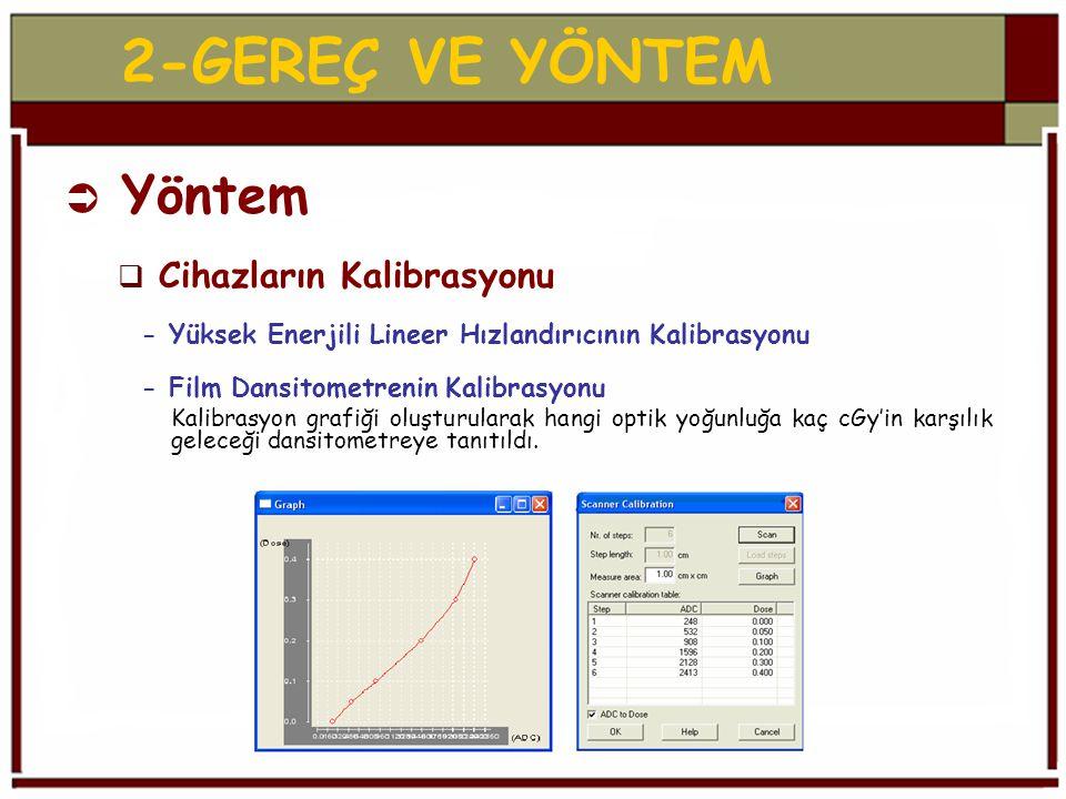 2-GEREÇ VE YÖNTEM  Yöntem  Cihazların Kalibrasyonu - Yüksek Enerjili Lineer Hızlandırıcının Kalibrasyonu - Film Dansitometrenin Kalibrasyonu Kalibrasyon grafiği oluşturularak hangi optik yoğunluğa kaç cGy'in karşılık geleceği dansitometreye tanıtıldı.