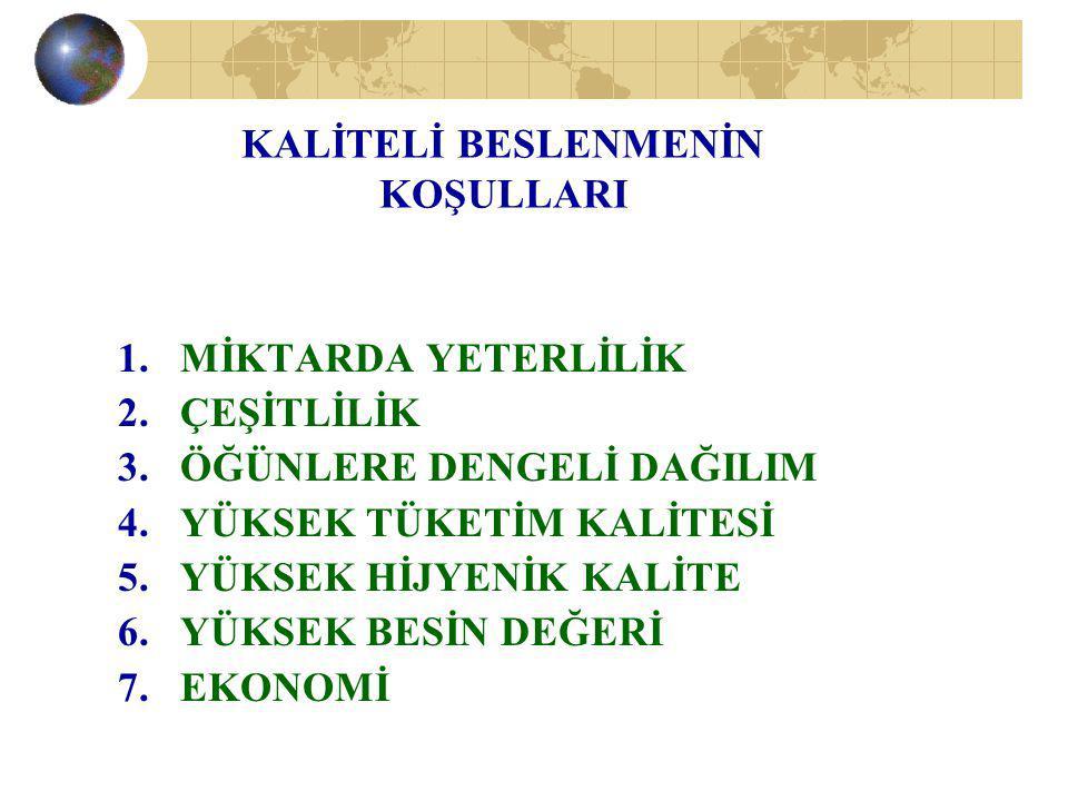 1.BESLENME- SAĞLIK- KALİTELİ YAŞAM 2. BESLENME - BÜYÜME-GELİŞME VE HÜCRE YENİLENMESİ 3.