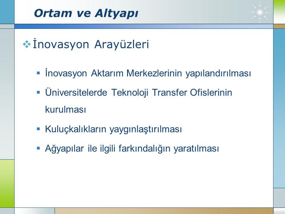 Ortam ve Altyapı  İnovasyon Arayüzleri  İnovasyon Aktarım Merkezlerinin yapılandırılması  Üniversitelerde Teknoloji Transfer Ofislerinin kurulması  Kuluçkalıkların yaygınlaştırılması  Ağyapılar ile ilgili farkındalığın yaratılması
