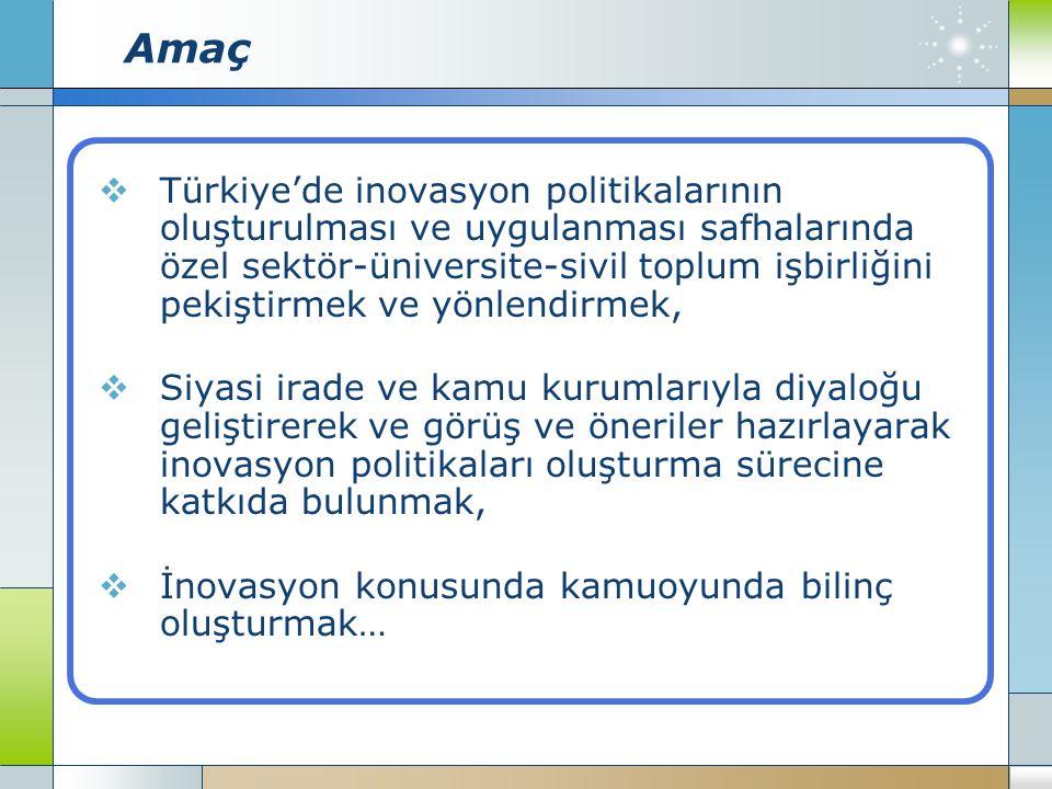 Amaç  Türkiye'de inovasyon politikalarının oluşturulması ve uygulanması safhalarında özel sektör-üniversite-sivil toplum işbirliğini pekiştirmek ve yönlendirmek,  Siyasi irade ve kamu kurumlarıyla diyaloğu geliştirerek ve görüş ve öneriler hazırlayarak inovasyon politikaları oluşturma sürecine katkıda bulunmak,  İnovasyon konusunda kamuoyunda bilinç oluşturmak…