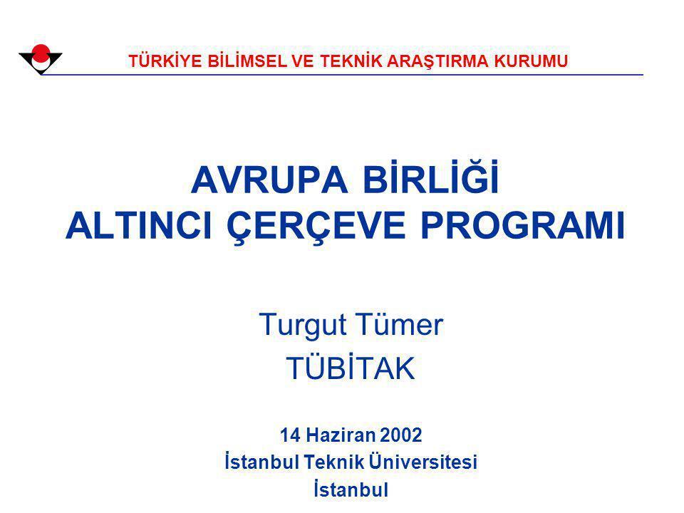 AVRUPA BİRLİĞİ ALTINCI ÇERÇEVE PROGRAMI TÜRKİYE BİLİMSEL VE TEKNİK ARAŞTIRMA KURUMU Turgut Tümer TÜBİTAK 14 Haziran 2002 İstanbul Teknik Üniversitesi İstanbul